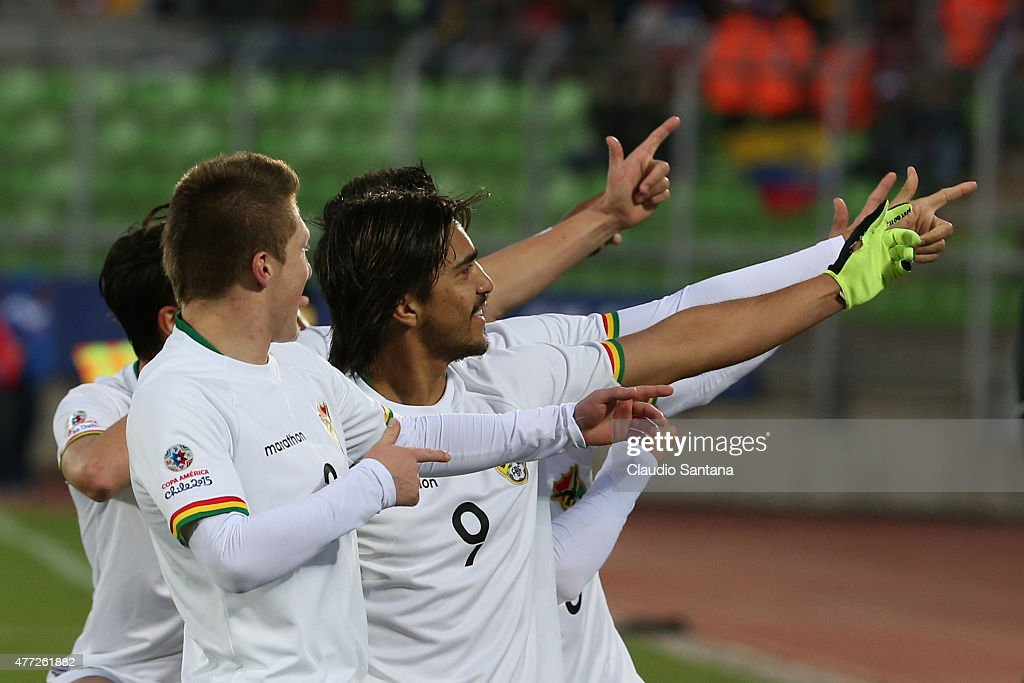 Marcelo Moreno Martins of Bolivia celebrates with teammates after scoring the third goal of his team through a penalty kick during the 2015 Copa America Chile Group A match between Ecuador and Bolivia at Elias Figueroa Bander Stadium on June 15, 2015 in Valparaiso, Chile.