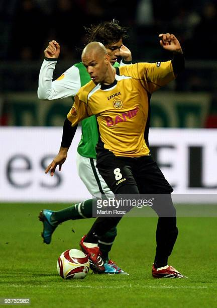 Marcelo Moreno of Bremen and Luis Alberto of Funchal compete for the ball during the UEFA Europa League Group L match between Werder Bremen and CD...