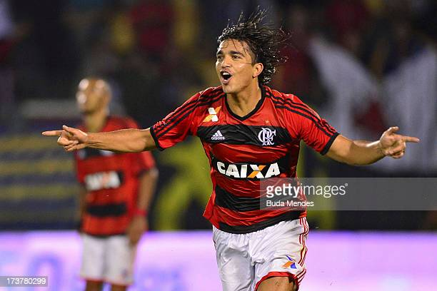 Marcelo Moreno of Flamengo celebrates a scored goal during the match between Flamengo and Asa as part of the Brazil Cup 2013 at the Cidadania Stadium...