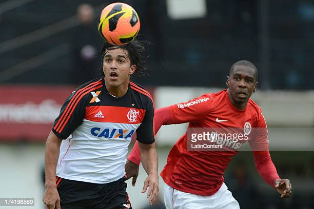 Marcelo Moreno of Flamengo fights for the ball with Juan of Internacional during a match between Flamengo and Internacional as part of the Brazilian...