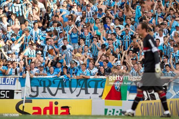 Marcelo Moreno of Grêmio celebrates a goal during the match between São Paulo and Grêmio as part of Campeonato Brasileiro Séria A 2012 at Olímpico...