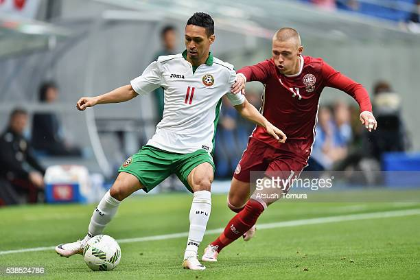 Marcelo Nascimento Da Costa of Bulgaria and Viktor Fischer of Denmark compete for the ball during the international friendly match between Denmark...