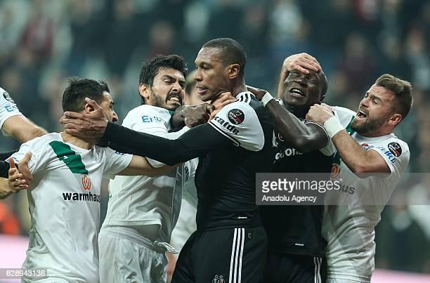Marcelo of Besiktas argues with Aziz Behich of Bursaspor during the Turkish Spor Toto Super Lig soccer match between Besiktas and Bursaspor at...