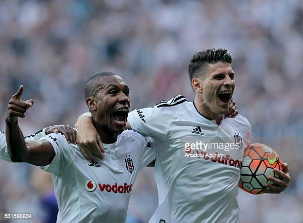 Marcelo of Besiktas celebrates his score with his team mate Mario Gomez during the Turkish Spor Toto Super Lig soccer match between Besiktas JK and...