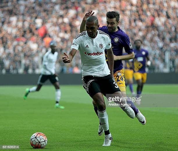 Marcelo of Besiktas is in action against Resescu of Osmanlispor during the Turkish Spor Toto Super Lig soccer match between Besiktas JK and...