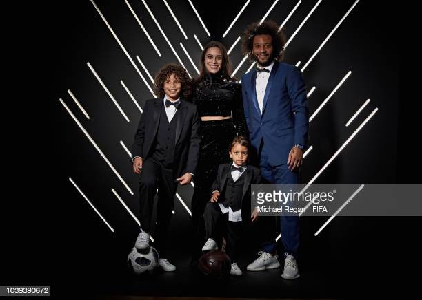 Marcelo of Brazil and Real Madrid and his family are pictured inside the photo booth prior to The Best FIFA Football Awards at Royal Festival Hall on...