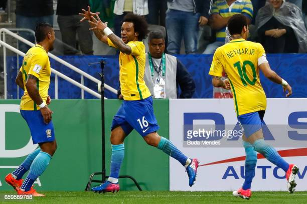 Marcelo of Brazil celebrates a goal against Paraguay during a match between Brazil and Paraguay as part of 2018 FIFA World Cup Russia Qualifier at...