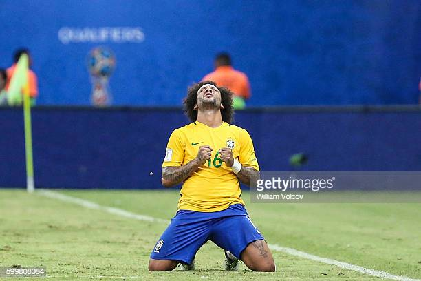Marcelo of Brazil celebrates during a match between Brazil and Colombia as part of FIFA 2018 World Cup Qualifiers at Arena Amazonia Stadium on...