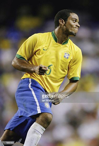 Marcelo of Brazil celebrates scoring the first goal during the International Friendly between Brazil and Wales at White Hart Lane on September 5 2006...