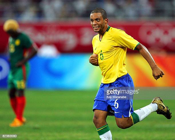 Marcelo of Brazil celebrates the second goal during the Men's Quarter Final match between Brazil and Cameroon at Shenyang Olympic Stadium on Day 8 of...