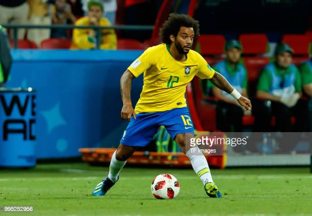 Marcelo of Brazil controls the ball during the 2018 FIFA World Cup Russia Quarter Final match between Brazil and Belgium at Kazan Arena on July 6...