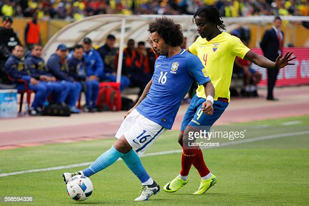 Marcelo of Brazil drives the ball while marked by Armando Paredes of Ecuador during a match between Ecuador and Brazil as part of FIFA 2018 World Cup...
