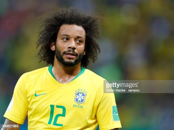 Marcelo of Brazil during the 2018 FIFA World Cup Russia Quarter Final match between Brazil and Belgium at Kazan Arena on July 6 2018 in Kazan Russia