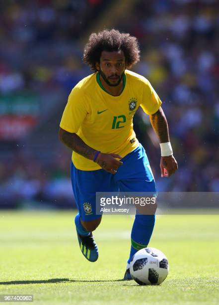 Marcelo of Brazil during the International friendly match between of Croatia and Brazil at Anfield on June 3 2018 in Liverpool England