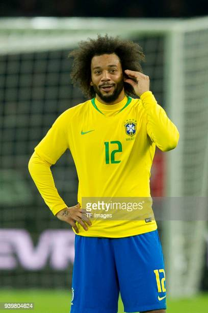 Marcelo of Brazil gestures during the international friendly match between Germany and Brazil at Olympiastadion on March 27 2018 in Berlin Germany