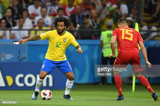 Marcelo of Brazil in action during the 2018 FIFA World Cup Russia Quarter Final match between Brazil and Belgium at Kazan Arena on July 6 2018 in...