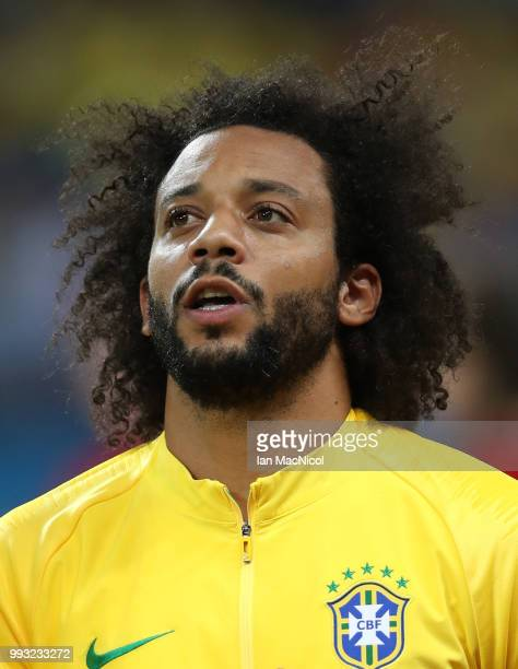 Marcelo of Brazil is seen during the 2018 FIFA World Cup Russia Quarter Final match between Brazil and Belgium at Kazan Arena on July 6 2018 in Kazan...