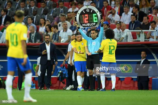 Marcelo of Brazil is substituted by teammate Filipe Luis during the 2018 FIFA World Cup Russia group E match between Serbia and Brazil at Spartak...