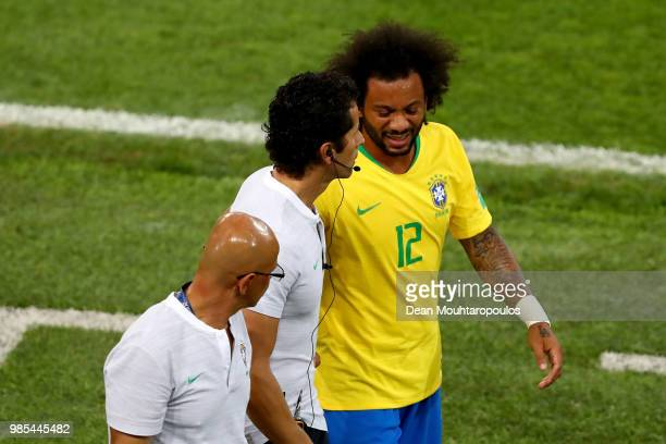 Marcelo of Brazil leaves the pitch after being substituted due to an injury during the 2018 FIFA World Cup Russia group E match between Serbia and...