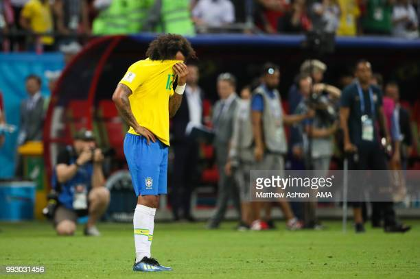 Marcelo of Brazil looks dejected at the end of the 2018 FIFA World Cup Russia Quarter Final match between Brazil and Belgium at Kazan Arena on July 6...