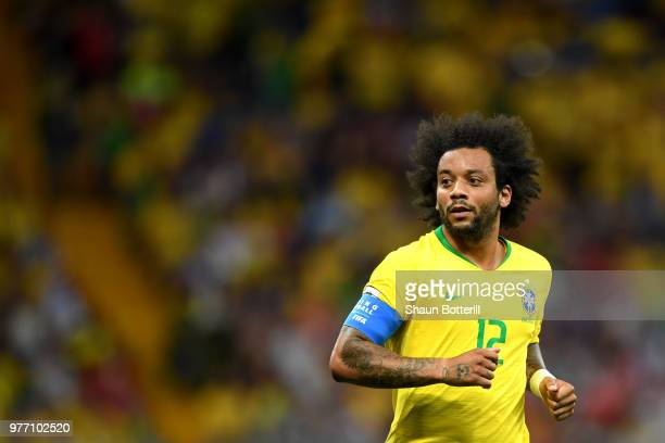 Marcelo of Brazil looks on during the 2018 FIFA World Cup Russia group E match between Brazil and Switzerland at Rostov Arena on June 17 2018 in...