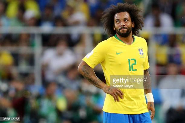Marcelo of Brazil looks on during the 2018 FIFA World Cup Russia group E match between Serbia and Brazil at Spartak Stadium on June 27 2018 in Moscow...