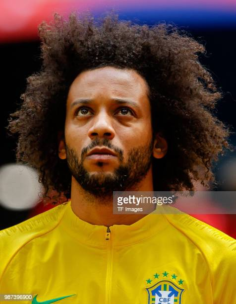 Marcelo of Brazil looks on prior to the 2018 FIFA World Cup Russia group E match between Brazil and Costa Rica at Saint Petersburg Stadium on June 22...