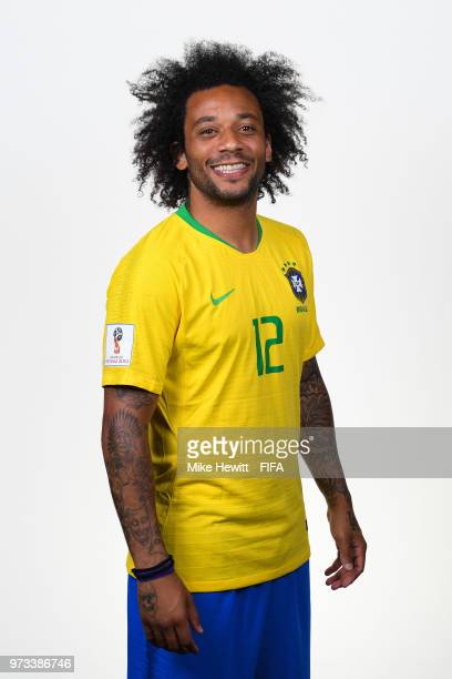 Marcelo of Brazil poses for a portrait during the official FIFA World Cup 2018 portrait session at the Brazil Team Camp on June 12 2018 in Sochi...