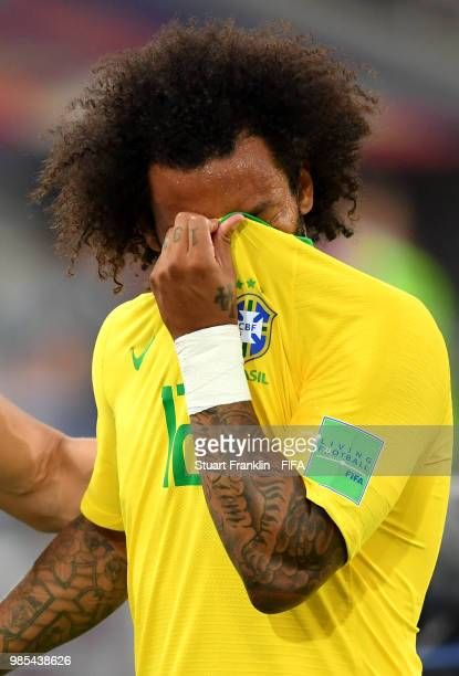 Marcelo of Brazil reacts after being substituted due to an injury during the 2018 FIFA World Cup Russia group E match between Serbia and Brazil at...