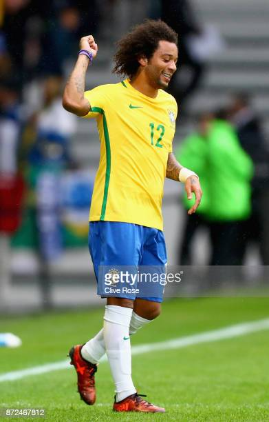 Marcelo of Brazil reacts during the international friendly match between Brazil and Japan at Stade PierreMauroy on November 10 2017 in Lille France