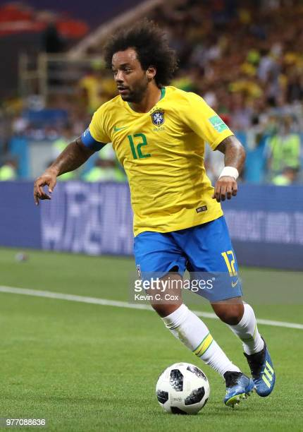 Marcelo of Brazil runs with the ball during the 2018 FIFA World Cup Russia group E match between Brazil and Switzerland at Rostov Arena on June 17...