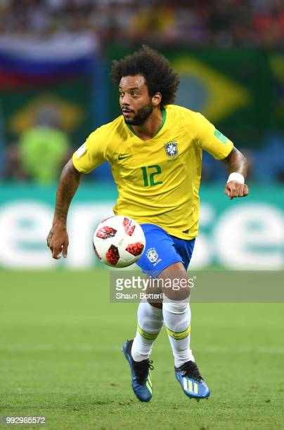 Marcelo of Brazil runs with the ball during the 2018 FIFA World Cup Russia Quarter Final match between Brazil and Belgium at Kazan Arena on July 6...