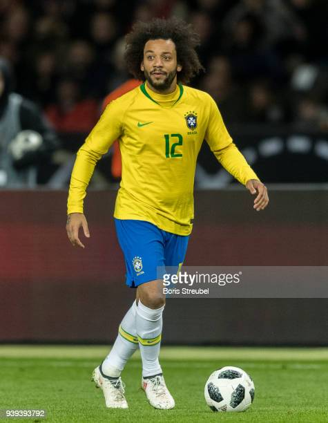 Marcelo of Brazil runs with the ball during the International friendly match between Germany and Brazil at Olympiastadion on March 27 2018 in Berlin...