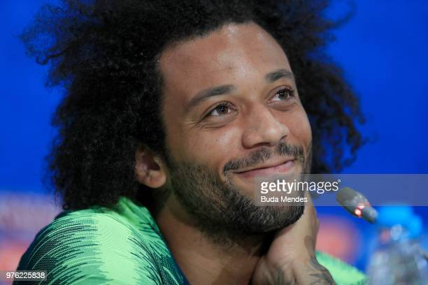 Marcelo of Brazil smiles as he talks to the medida during a press conference ahead of the FIFA World Cup 2018 at Rostov Arena on June 16 2018 in...