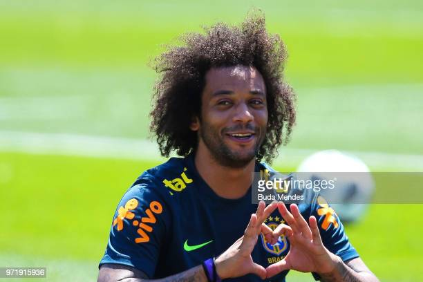 Marcelo of Brazil takes part during a Brazil training session ahead of the FIFA World Cup 2018 in Russia at YugSport Stadium on June 12 2018 in Sochi...