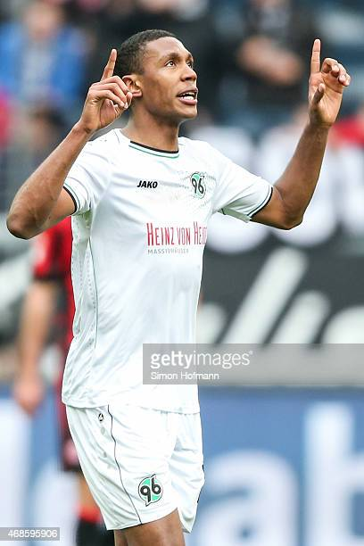 Marcelo of Hannover celebrates his team's first goal during the Bundesliga match between Eintracht Frankfurt and Hannover 96 at CommerzbankArena on...