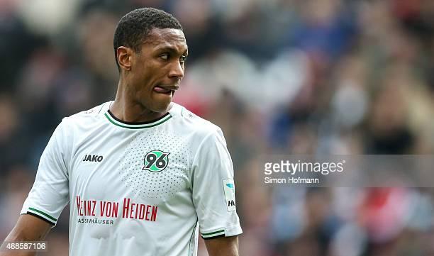 Marcelo of Hannover reacts during the Bundesliga match between Eintracht Frankfurt and Hannover 96 at CommerzbankArena on April 4 2015 in Frankfurt...