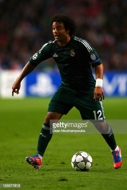Marcelo of Real in action during the UEFA Champions League Group D match between Ajax Amsterdam and Real Madrid at Amsterdam Arena on October 3 2012...