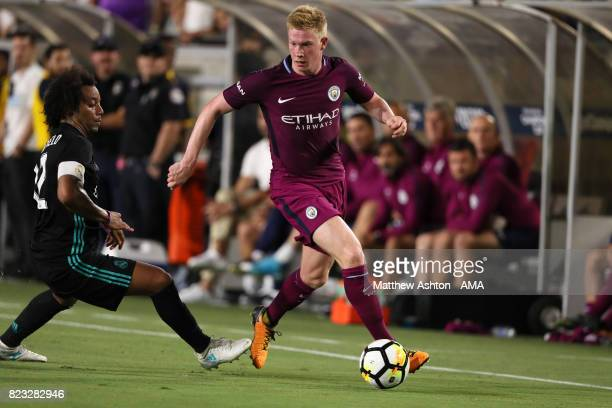 Marcelo of Real Madrid and Kevin De Bruyne of Manchester City during the International Champions Cup 2017 match between Manchester City and Real...