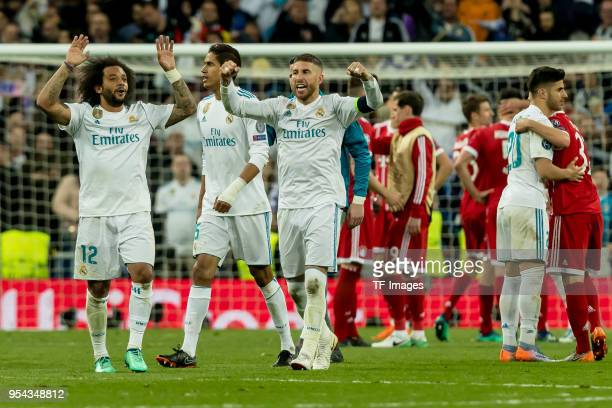Marcelo of Real Madrid and Sergio Ramos of Real Madrid celebrates after winning the UEFA Champions League Semi Final Second Leg match between Real...