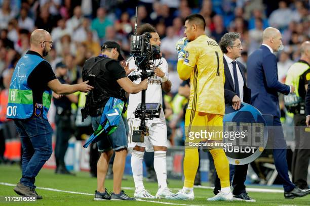 Marcelo of Real Madrid Areola of Real Madrid during the UEFA Champions League match between Real Madrid v Club Brugge at the Santiago Bernabeu on...