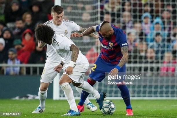 Marcelo of Real Madrid Arturo Vidal of FC Barcelona during the La Liga Santander match between Real Madrid v FC Barcelona at the Santiago Bernabeu on...