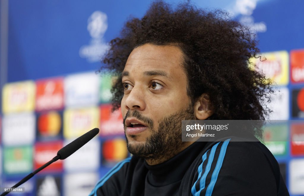 Marcelo of Real Madrid attends a press conference at Valdebebas training ground on February 13, 2018 in Madrid, Spain.