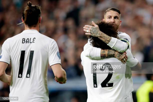 Marcelo of Real Madrid celebrates 20 with Gareth Bale of Real Madrid Sergio Ramos of Real Madrid during the UEFA Champions League match between Real...