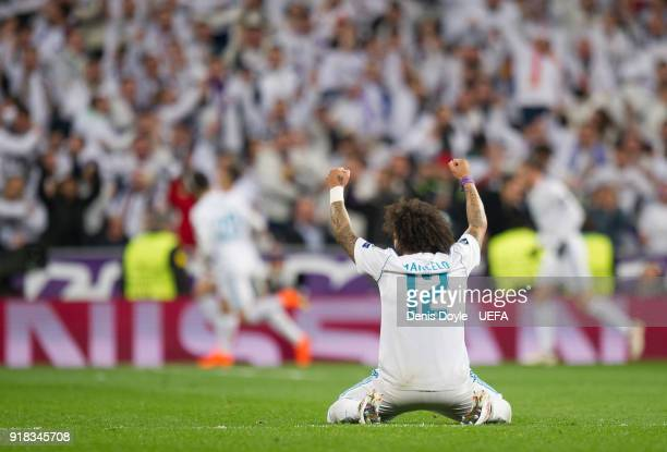 Marcelo of Real Madrid celebrates after Real scored their 2nd goal during the UEFA Champions League Round of 16 First Leg match between Real Madrid...
