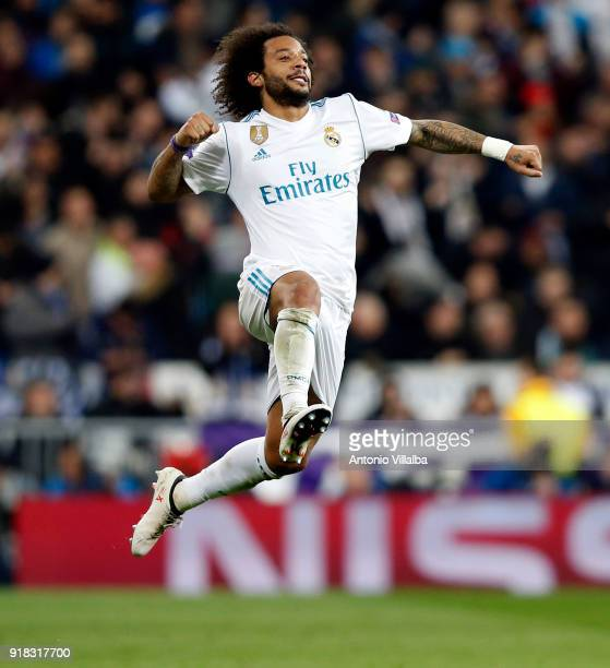 Marcelo of Real Madrid celebrates after scoring during the UEFA Champions League Round of 16 First Leg match between Real Madrid and Paris...