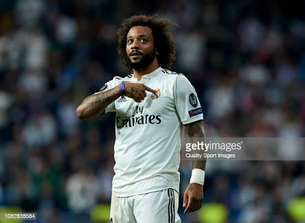 Marcelo of Real Madrid celebrates after scoring his side's second goal during the Group G match of the UEFA Champions League between Real Madrid and...