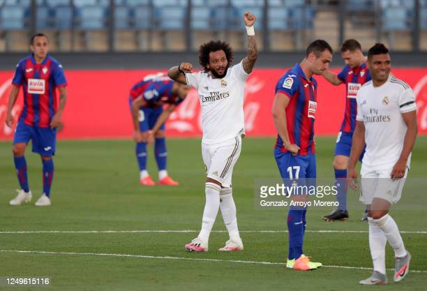 Marcelo of Real Madrid celebrates after scoring his teams third goal during the Liga match between Real Madrid CF and SD Eibar SAD at Estadio Alfredo...