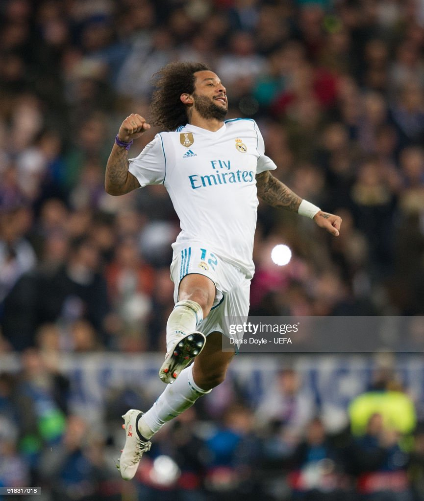 Uefa Champions League Round Of: Marcelo Of Real Madrid Celebrates After Scoring His Team's