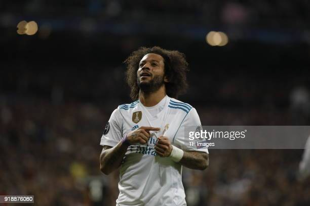 Marcelo of Real Madrid celebrates after scoring his team`s third goal during the UEFA Champions League Round of 16 First Leg match between Real...